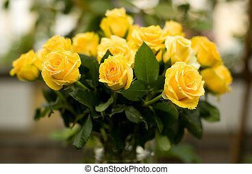 Bunch of beautiful yellow roses