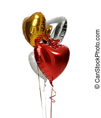 Bunch of big white red silver and gold heart balloons ...