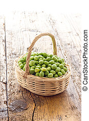 Bunch of biologic delicious green peas