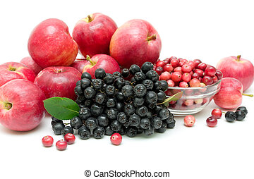 bunch of black chokeberry, cranberry and apple close-up - ...