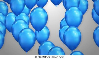 Bunch of blue Balloons rising up White background Animation 4K Loop Alpha Channel.