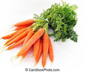 Bunch of carrots isolated on white background