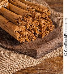 Bunch of Ceylon cinnamon on wooden table