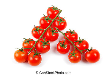 bunch of cherry tomatoes isolated on a white background