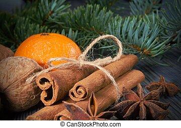 Bunch of cinnamon orange anise next to pine branch - Star...
