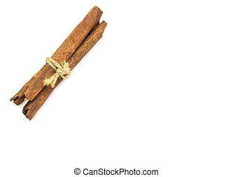 Bunch of cinnamon sticks on white background