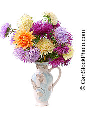 bunch of colorful asters