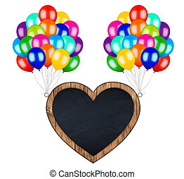 bunch of colorful balloons carrying flying heart shaped billboard
