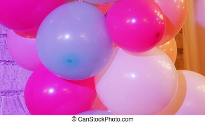 bunch of colorful balloons in the restaurant