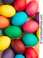 bunch of colorful Easter eggs close-up background