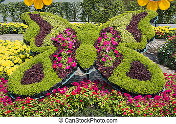 Bunch of colorful flowers in butterfly shape