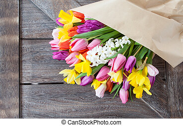 Bunch of colorful spring flowers