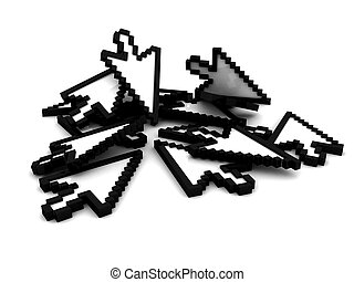 Bunch of computer cursors on a white background