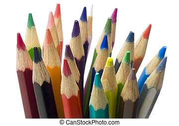 Bunch of crayons colored pencils