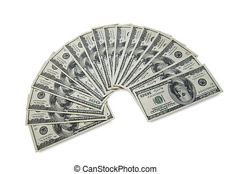 bunch of dollar banknotes on a white background