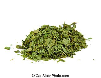 Bunch of dried parsley on a white background