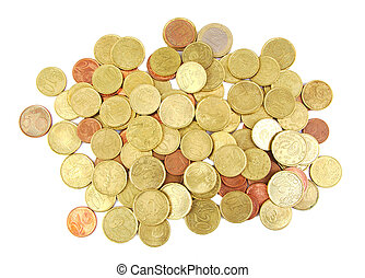 Bunch of euro coins isolated on white background.
