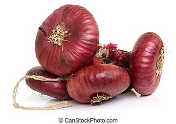 Bunch of flat red onion on white background