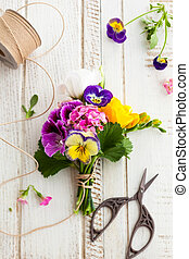 Bunch of flowers - Beautiful bunch of flowers on the wooden ...