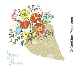 Bunch of flowers in the paper wrapping card