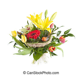 Bunch of flowers - Beautiful bouquet on white background....