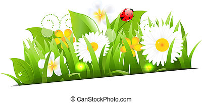 Bunch Of Flowers With Grass And Ladybug, Vector Illustration