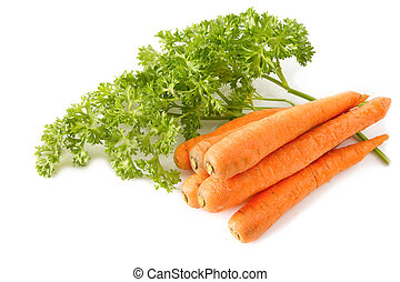 Bunch of fresh baby carrots on white background.