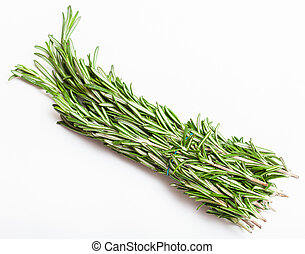 bunch of fresh cut green rosemary herb on white