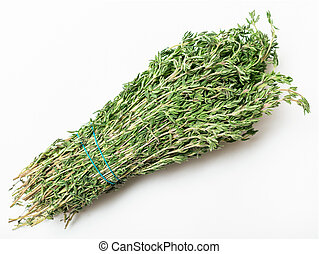 bunch of fresh cut green thyme herb on white