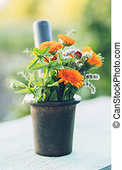 Bunch of fresh herbs and flowers in mortar. Selective focus