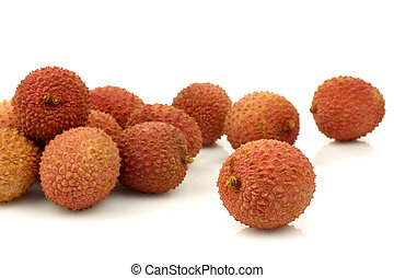 bunch of fresh lychees