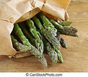 fresh organic green asparagus - bunch of fresh organic green...
