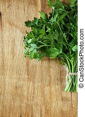 bunch of fresh parsley, food closeup
