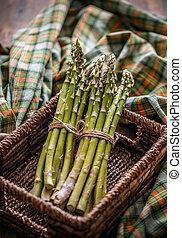 Bunch of fresh raw asparagus