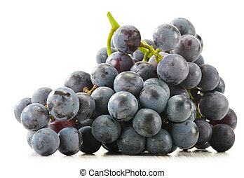 Bunch of fresh red grapes isolated on white
