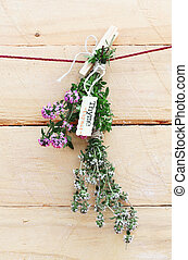 Bunch of fresh thyme with name label