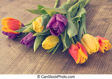 Bunch of fresh tulip flowers