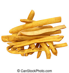 bunch of fried potatoes on a white background, 3d illustration