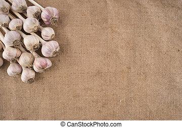 Bunch of garlic bulbs on a burlap