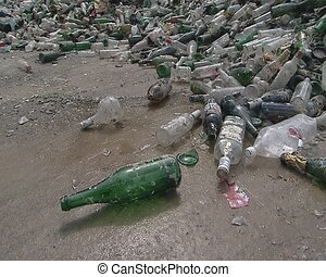 Bunch of glass and plastic bottles