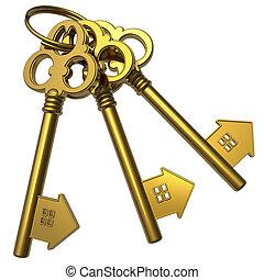 Bunch of golden house-shape keys - Real estate concept: ...