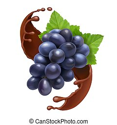Bunch of grape in chocolate , realistic vector illustration