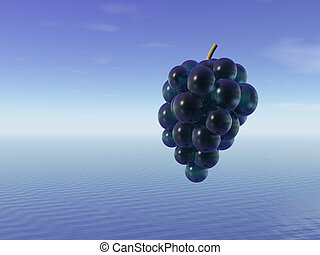 Bunch of grapes. 3D.
