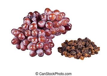 Bunch of grapes and raisins