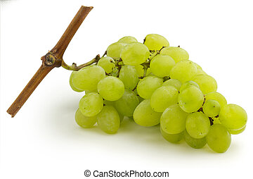 bunch of grapes - bunch of green grapes isolated on white...