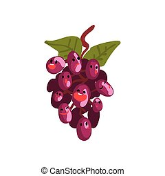 Bunch of Grapes Characters with Funny Faces Vector Illustration