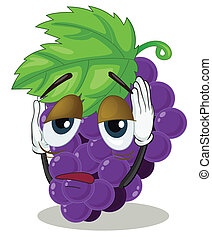 Bunch of grapes - illustration of a sad bunch of grapes on a...