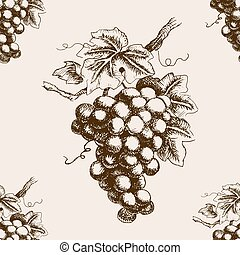 Bunch of grapes hand drawn seamless pattern vector