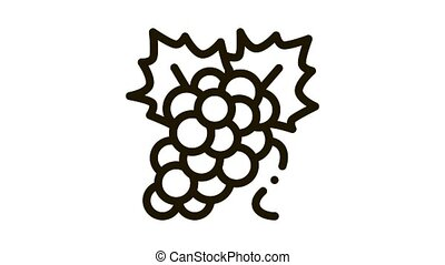 bunch of grapes Icon Animation. black bunch of grapes animated icon on white background