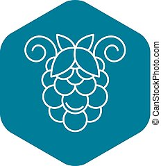 Bunch of grapes icon, outline style